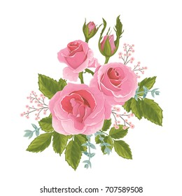 English  pink rose graphic flowers. For wedding invitation or greeting card. David Austin rose