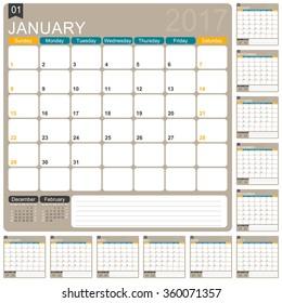 English planning calendar 2017, January - December, week starts on Sunday, vector illustration