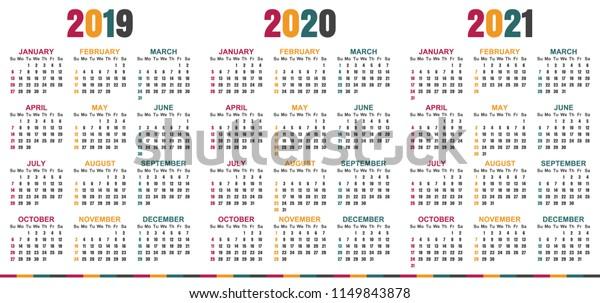 English Planning Calendar 2019 2021 Week Stock Vector