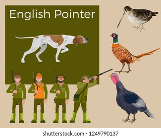 English pointer dog. Feathered game hunting. Figures of hunters in various poses. Set of vector illustration isolated on white background