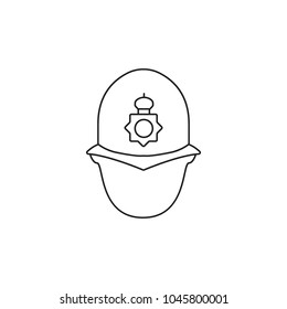 English police man icon. Outline english police man vector icon for web design isolated on white background