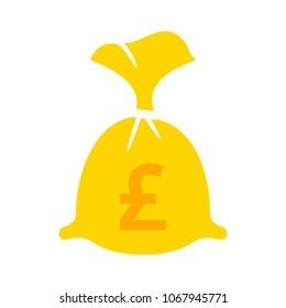 English pound money bag illustration - vector English pound symbol - money bag isolated