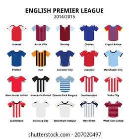 English Premier League 2014 - 2015 football or soccer jerseys icons set