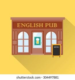 English pub bar icon with long shadow, vector illustration