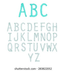 English rope font. A set of English letters of marine rope. Offshore font.