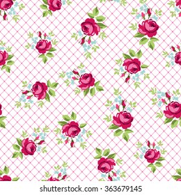 English Rose, Seamless wallpaper pattern with redroses, vector illustration
