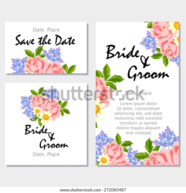 English Rose Wedding Invitation Cards Floral Stock Vector