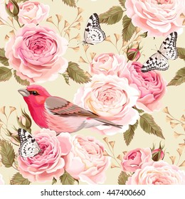 English roses and birds seamless
