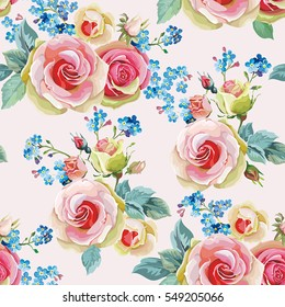 English roses seamless pattern. Spring vintage floral background. Beautiful vector illustration texture