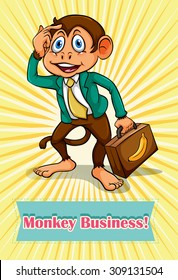 English saying monkey business illustration