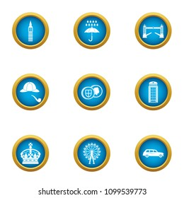 English snob icons set. Flat set of 9 english snob vector icons for web isolated on white background