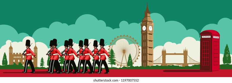 English soldier,red telephone box,Big Ben and famous land mark of England,national flag color,silhouette design,vector illustration