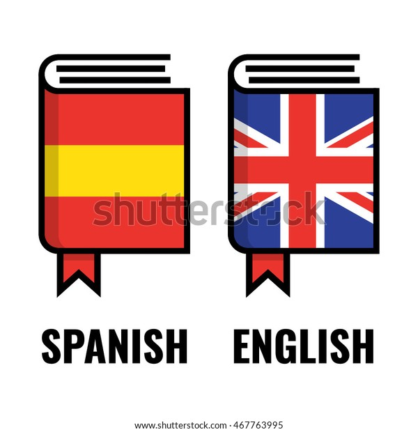 English Spanish Dictionary Flat Vector Icon Stock Vector
