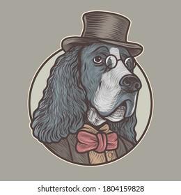 english springer spaniel dog wearing glasses and tuxedo handdrawn vector illustration