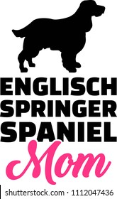 English Springer Spaniel mom silhouette with pink word