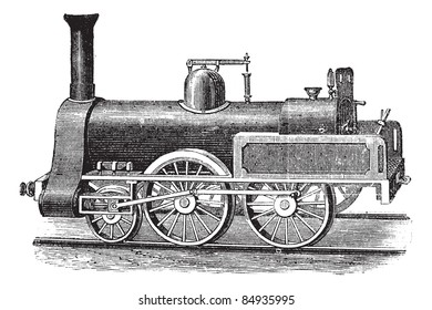 English Steam Locomotive, vintage engraved illustration. Trousset encyclopedia (1886 - 1891).