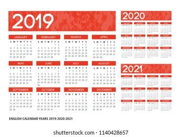 English textured calendar 2019-2020-2021