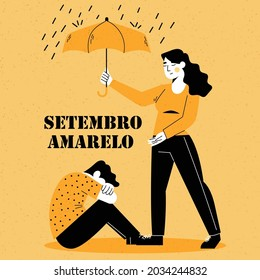 English Translation :World  suicide prevention day. girl consoling a boy to get rid of depression