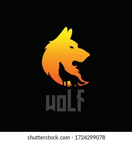 English  vector illustration of a wolf screaming at night. with the head and the whole body. This illustration is also very suitable to be a logo for your company, symbolizing courage.