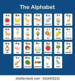 English vocabulary and alphabet flash card vector for kids to help learning and education in kindergarten children. Words of letter abc to z ,each card isolated on blue background.
