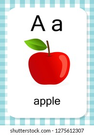 English vocabulary flash card vector for learning and education in kindergarten children. Words of letter A for apple.