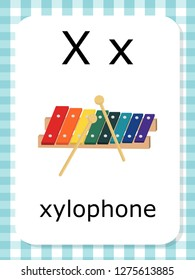 English vocabulary flash card vector for learning and education in kindergarten children. Words of letter X for xylophone.