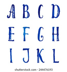 English watercolor decorative alphabet with hand drawn tall letters. A-L. Vector type font.