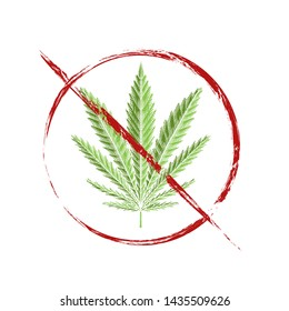 Engraiving drawing of green leaf of marijuana in grunge prohibition sign. Ban on cannabis. Stop smoking herbs. Object is separate from background. Vector element for signs, stickers and your design.