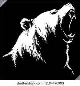 engrave isolated bear illustration vector sketch linear art