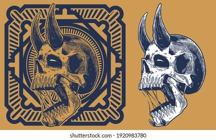 engrave skull with horn vintage illustration