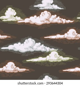 engraved clouds seamless pattern