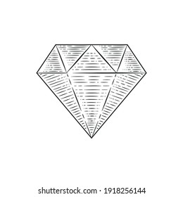 Engraved Diamond - vintage logo template. Gem, jewel engraving style icon. Diamond seal stamp.Trendy old hipster design. Vintage object for logo, label, badge design. Vector illustration