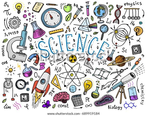 main gravée dessinée à la main dans le vieux croquis et le style vintage. formules et calculs scientifiques en physique et en mathématiques, en chimie et en biologie ou en astronomie sur tableau blanc. Éducation et science.