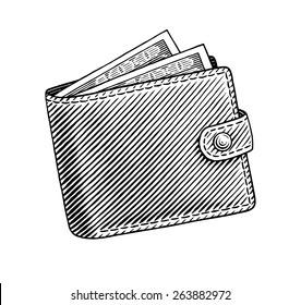 Engraved illustration of wallet full of dollars