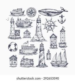 Engraved nautical elements. Sea theme. Vector illustration