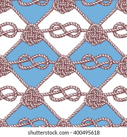 Engraved pattern with ropes in vintage style, vector tile