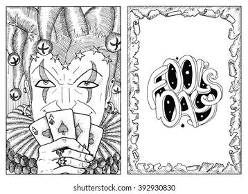 Engraved portrait of smiling Joker holding playing cards and border of torn paper with lettering. Line art hand drawn vector illustration and graphic sketch. Doodle with text. Coloring book page.