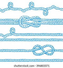 Engraved ropes and knots in vintage style, vector seamless pattern with eight knot, sailor knot and rope swirl.