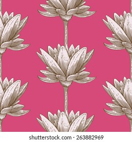 Engraved seamless pattern with lotus