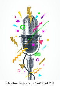 Engraved style retro microphone with abstract multicolored shape. Design for poster, cover, placard, greeting card, invitation and etc.