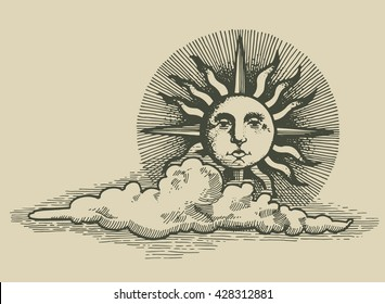 engraved sun and clud in the sky vector illustration