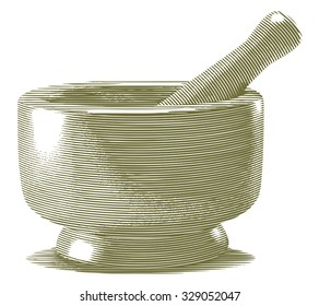 Engraved-style illustration of a Mortar and Pestle