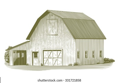 Engraved-style illustration of an old barn.