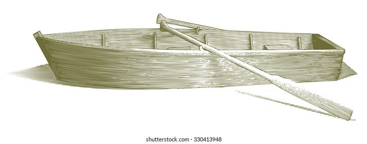 Engraved-style illustration of a wooden row boat with oars.