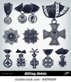 "Engraving ancient Military Medals set from ""The Complete encyclopedia of illustrations"" containing the original illustrations of The iconographic encyclopedia of science, literature and art, 1851."