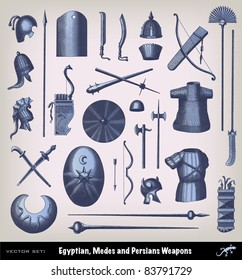 """Engraving ancient weapon set from """"The Complete encyclopedia of illustrations"""" containing the original illustrations of The iconographic encyclopedia of science, literature and art, 1851."""