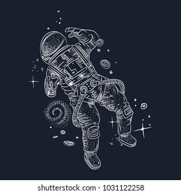 engraving astronaut in space. vintage retro style. sketch for printing on clothing and fabrics. vector graphics