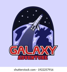Engraving badge with launch of rocket vector illustration. Colored emblem with shuttle flying around Earth. Universe and galaxy adventure concept can be used for retro template