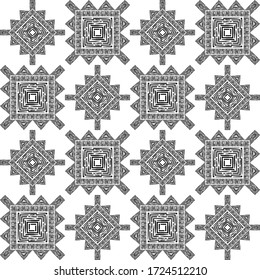 Engraving. Black and white seamless background. Ethnic boho ornament. Seamless background. Tribal motif. Vector illustration for web design or print.