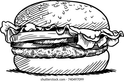 engraving burger vector